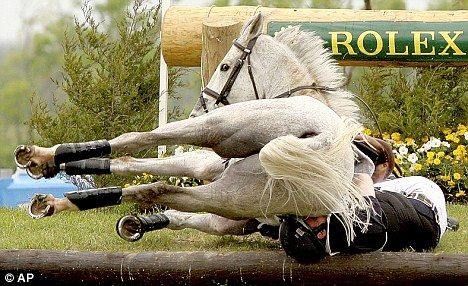 Event rider Oliver Townend is protected by his jacket in a horrific fall last April - not that i'll be eventing.