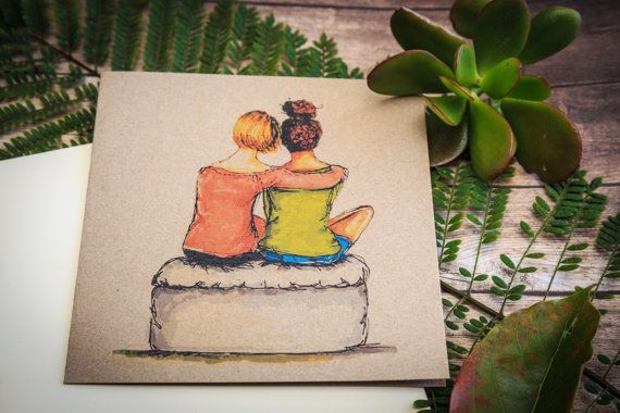 """Friends """" sometimes , just being there is enough!""""  hand illustrated greeting card on etsy by CardwellandInk"""