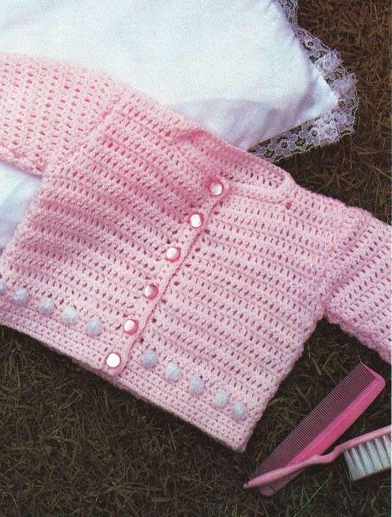 Favorito Abiti per neonati - Maglioncino rosa all'uncinetto. | Uncinetto NX95
