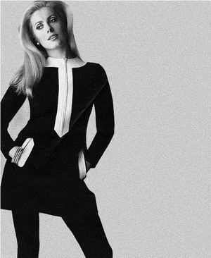 Catherine Deneuve wearing a dress by Andre Courrèges for Vogue Paris