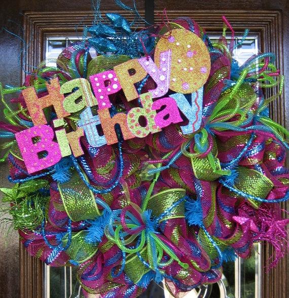 Deco Mesh HAPPY BIRTHDAY WREATH by decoglitz on Etsy