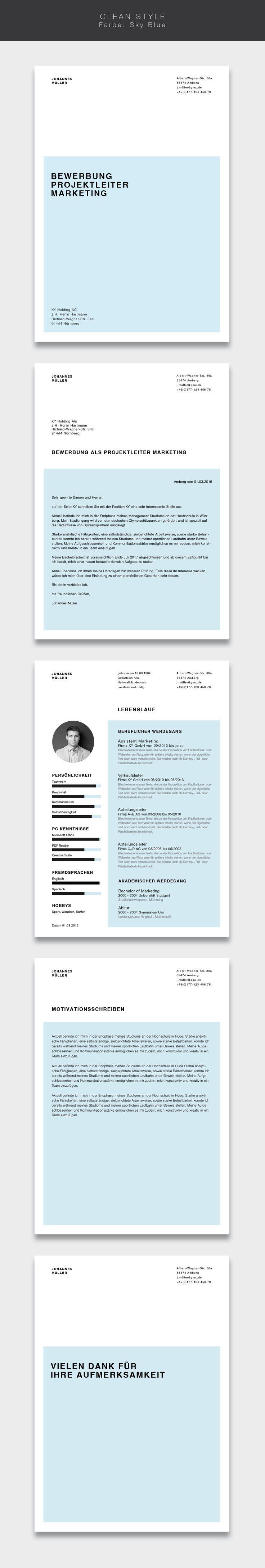 """Unsere Bewerbungsvorlage ( #cvtemplate ) """"Clean Style"""" in der Farbe Sky Blue. Less is more. Einfaches und übersichtliches Design kombiniert mit einem strukturierten Aufbau. Mit der Vorlage """"Clean Style"""" lassen Sie alle Mitbewerber verblassen. Sie erhalten von uns ein Deckblatt, Anschreiben, Lebenslauf, Motivationsschreiben und Abschlussseite. Die Datei bekommen Sie als fertige Pages- oder Word-Datei inklusive Platzhaltertext mit Hinweisen. #grafikdesign #fashion"""