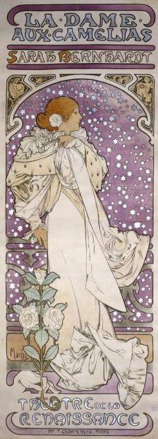 Lithography by Mucha (1860-1939), 1899, La Dame aux Camélias, Sarah Bernhardt, Theater de La Renaissance. Bibliothèque nationale de France.