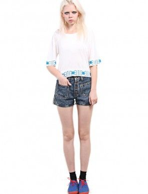 Cropped T-Shirt Featuring 'Navo' Short Draped Sleeves