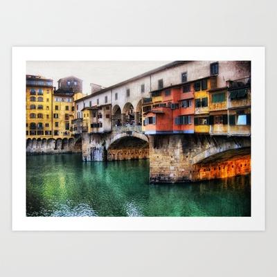 Pont Vecchio Art Print by Laura George - $15.00: Vecchio Art, Art Prints, Digital Art