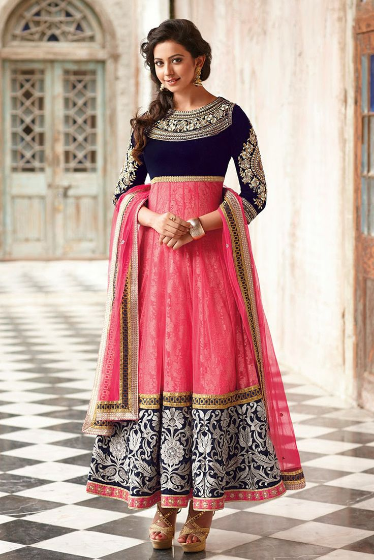 Rakul Preet Singh Pink and Blue Anarkali Suit