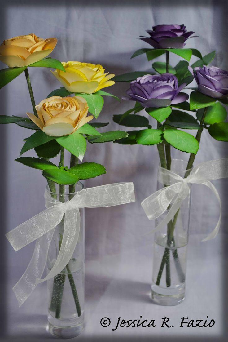 Cricut Flower Shoppe Rose Bouquets, Glass etched vases