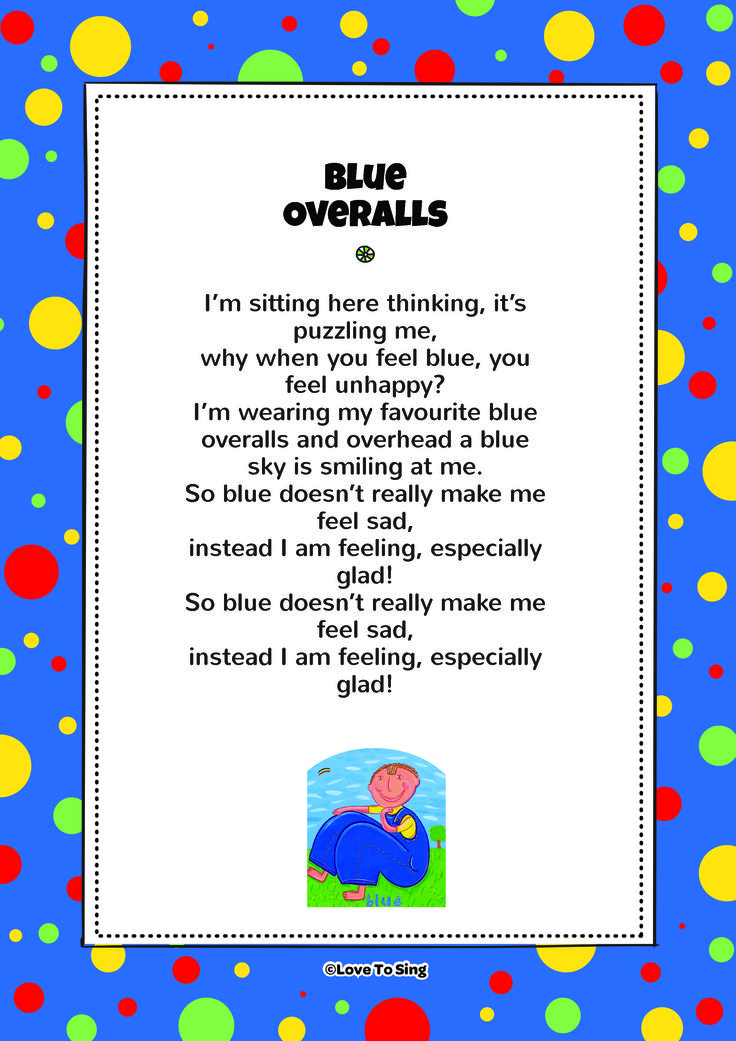 Blue Overalls. Download FREE fun curriculum learning activities and FREE song lyrics from our website. Watch FREE videos! http://www.childrenlovetosing.com/kids-song/blue-overalls/ #education #colorsongs
