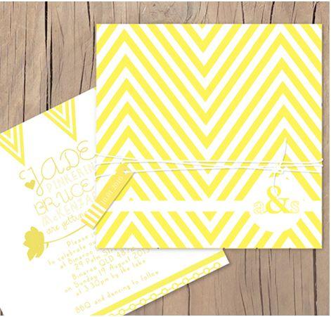 Fun zig zag modern wedding invitation by Lilykiss in yellow