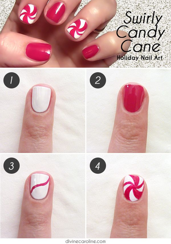 Try this tasty swirly candy cane nail art for your holiday parties and festivities. #nailart #holidaynails
