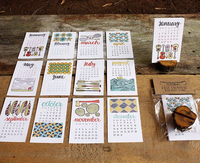 Love this letterpress calendar! (Click through for a whole collection of creative calendars for 2013)