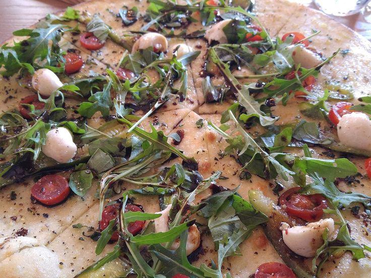 Caprese Focaccia (gluten free and vegan) at Nomad Restaurant, Stellenbosch