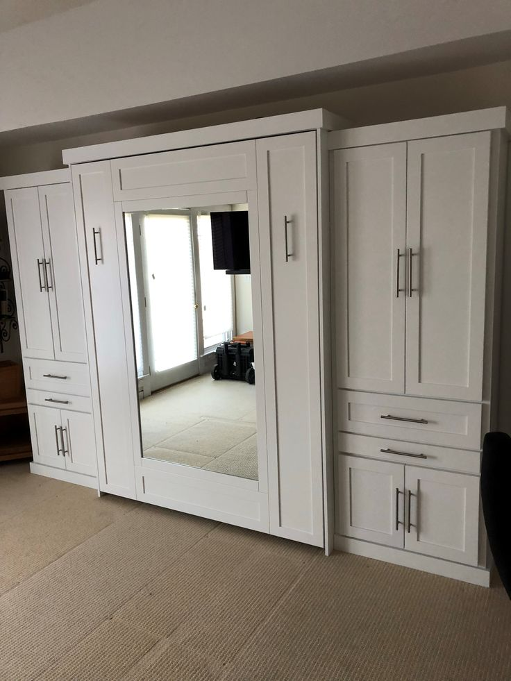 """Our customer from Connecticut chose the Bedder Way Vertical Queen Mirror Face Murphy bed in maple painted white with 6"""" contemporary chrome handles along with two 30"""" side cabinets."""