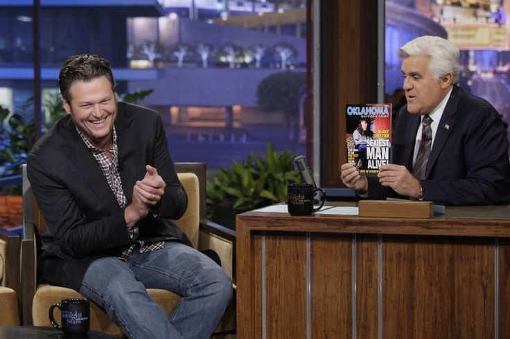 """We bet Miranda Lambert thinks he's the sexiest man alive. Blake Shelton is taunted with a fake magazine on """"The Tonight Show With Jay Leno"""" on Nov. 20 in Burbank, Calif.: Mess Blake, Man Alive, Jay Leno, Leno Videos, Jayleno, Blake Shelton, Photo, Fake Magazines, Sexiest Man"""