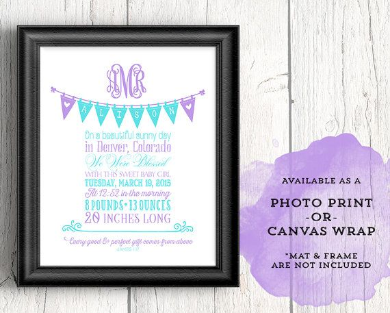 purple and teal girls nursery art  by WillowLanePrints on Etsy