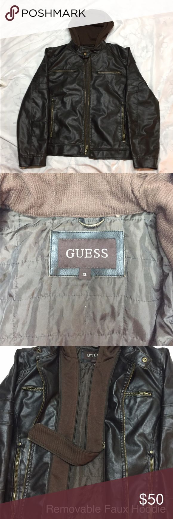 Men's GUESS Faux Leather Coat    *ON SALE* Faux Leather Guess Men's Coat. Has a Removable Faux Hood. Brand New Condition. Worn Only A Couple Times!! Guess Jackets & Coats Utility Jackets