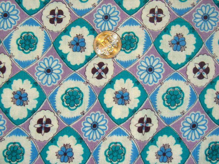 Vintage Feedsack Flour Sack Fabric Teal Lavender 1930's 1940's Novelty Cotton Quilt Fat Quarter