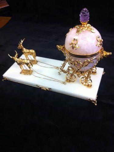 FABERGE authentic IMPERIAL ROSE QUARTZ COACH EGG, 24k gold