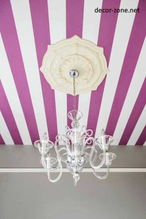 striped ceiling wallpaper for girls bedroom