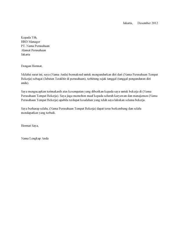 Contoh Surat Resign Simple Surat Pengunduran Diri Surat Tulisan