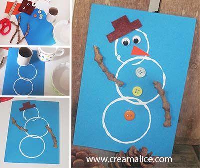 ★ ✄ DIY Carte Bonhomme de Neige / DIY Snowman Card ✄ ★ www.creamalice.com
