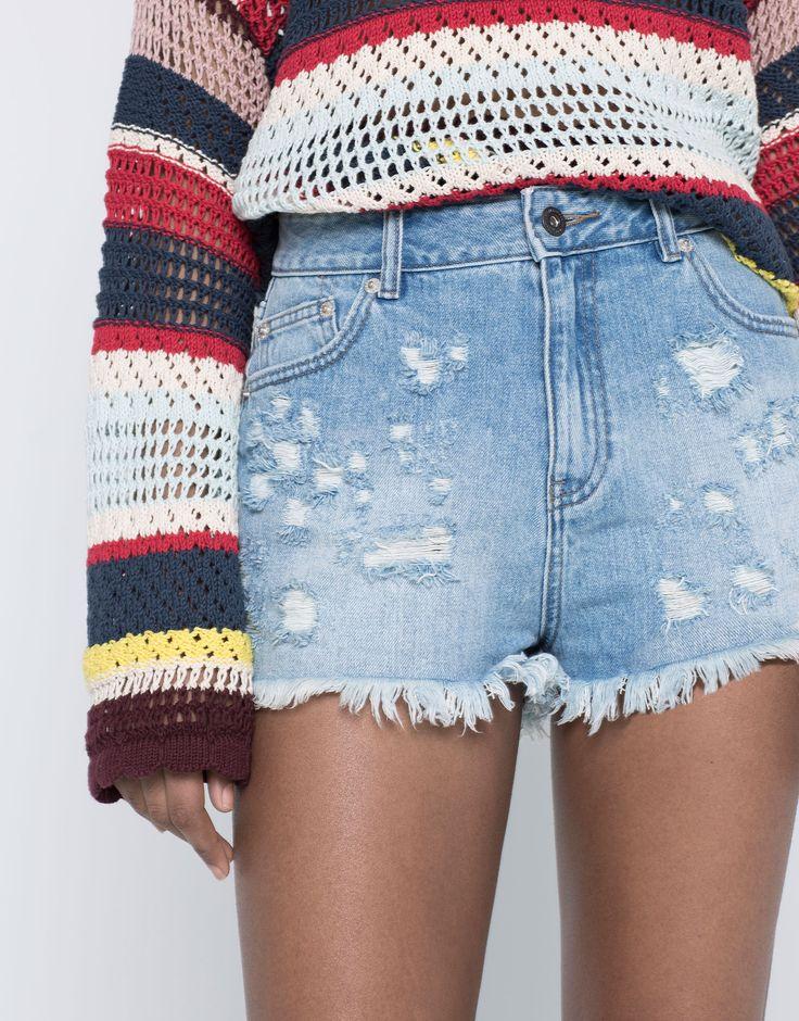 Jeansowe spodenki mom fit - Bermudy I Szorty - Odzież - Dla Niej - PULL&BEAR Polska