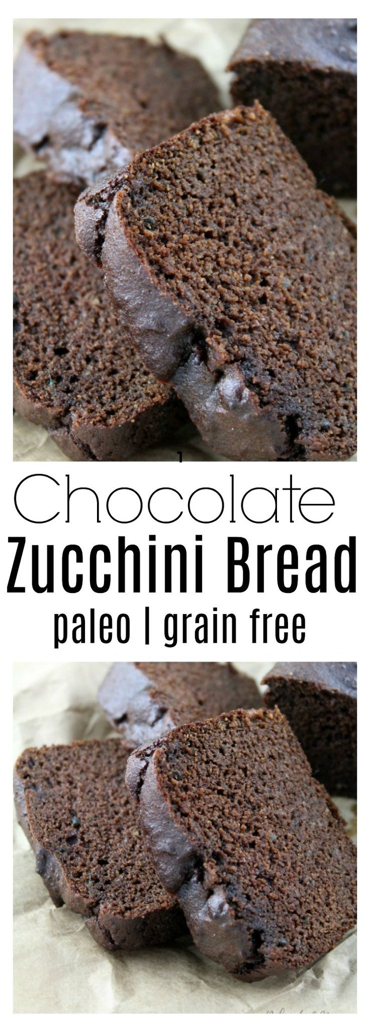 Moist and delicious paleo chocolate zucchini bread with simple ingredients, sweetened with maple syrup.