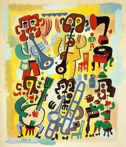 Jazz Quintet 2008 print by Jim Fora - Jim Flora - Gallery