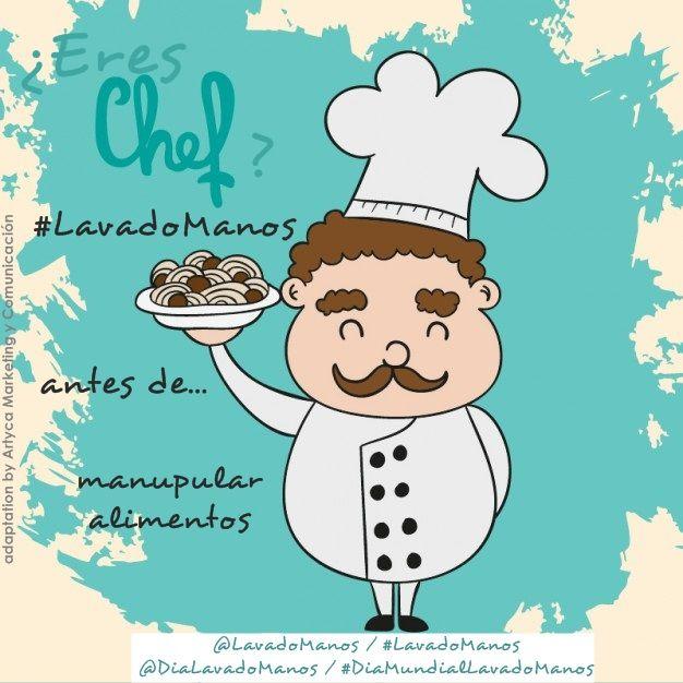 ¿Eres chef? ¿trabajas en hostelería y restauración? Recuerda que debes realizar #LavadoManos #ConAguayJabón antes de manipular alimentos y antes de servirlos al cliente.