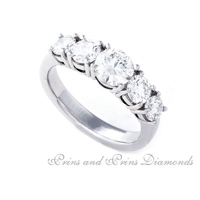 Five Stone diamond engagement ring with 1.952ct set in platinum