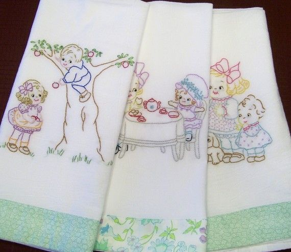 Awesome Hand Embroidered Dish Towels. Vintage Embroidery PatternsEmbroidery ... Part 20