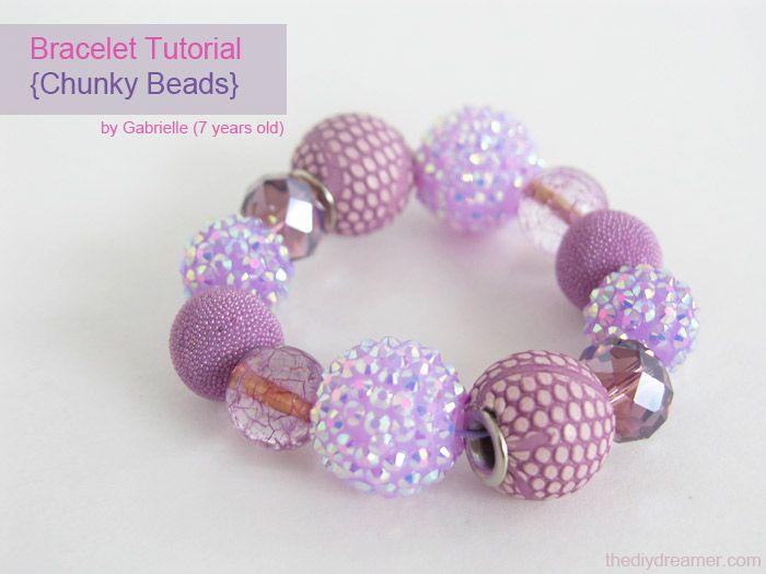 Little Girl's Easy Chunky Beads  Bracelet Tutorial - - The D.I.Y. Dreamer