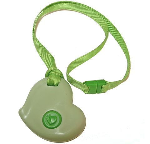 SentioLife Solutions' KidCompanions Chewelry -  Green Heart in medical grade polymer with matching cotton breakaway lanyard.Colorful lanyards are colorfast and soft to touch. If you have a fabric chewer our undyed organic cotton lanyard may be the best choice. (breakaway clip not made to be chewed)