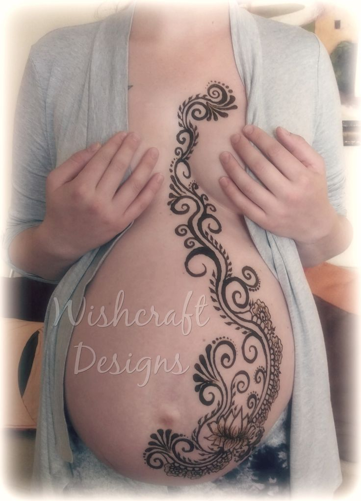 Henna art by Kristina Loeffler of Wishcraft Designs. Henna belly, prenatal henna, Belly henna