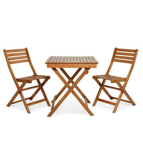 Garden Wooden Bistro Set Patio Table And Chairs 3Piece Folding Outdoor Furniture #SmartDealsMarket