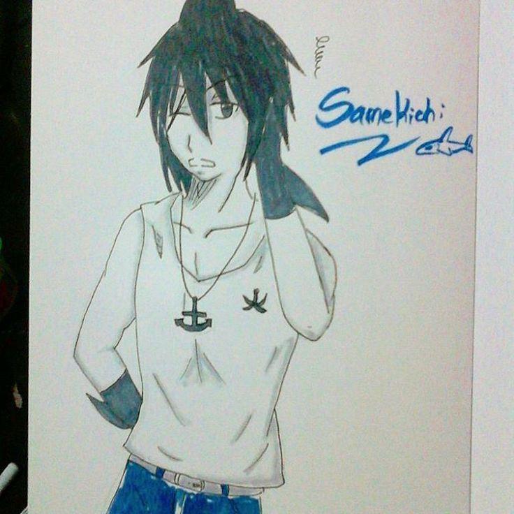 Samekichi looks like a badass :v  #drawing #doodle #art #animeart #anime #fanart #manga #game #graygarden #rpg #samekichi #wadanohara #gray #black #diamond #instaart #instamood #instagram