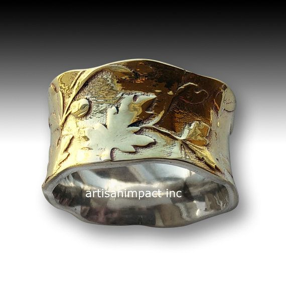 Silver brass Ring, wide ring, unisex Band, wedding Ring, vine ring, bohemian jewelry, silver band, leaves ring - Unexpected moment R2089