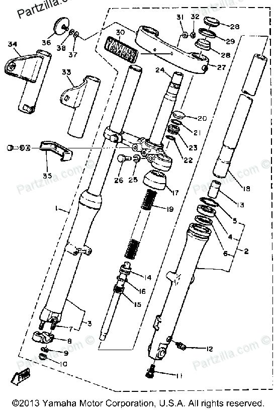 Diagram of Yamaha Motorcycle Parts 1981 XS400 - XS400H FRONT FORK Diagram