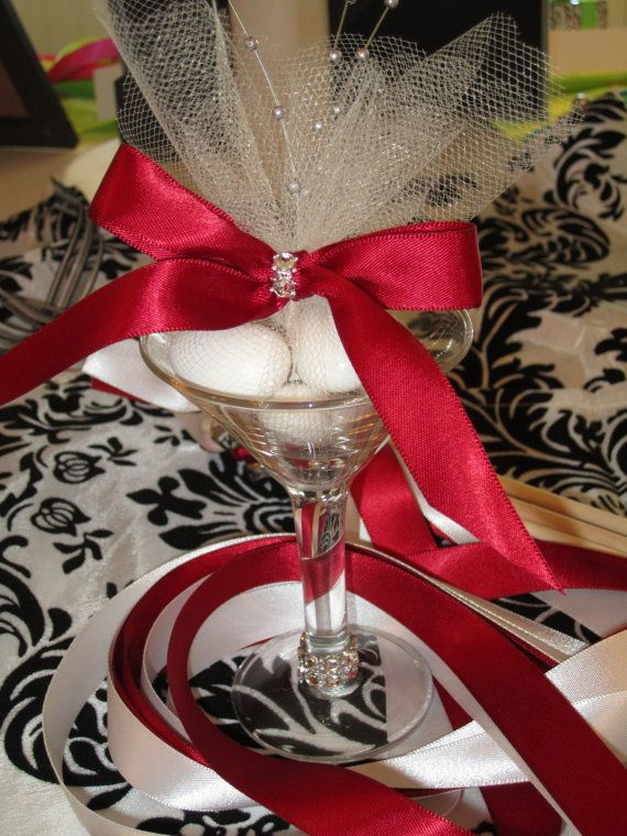Red/Silver Wedding Favor In Mini Martini Glass by LynnsPartyFavors, $4.99