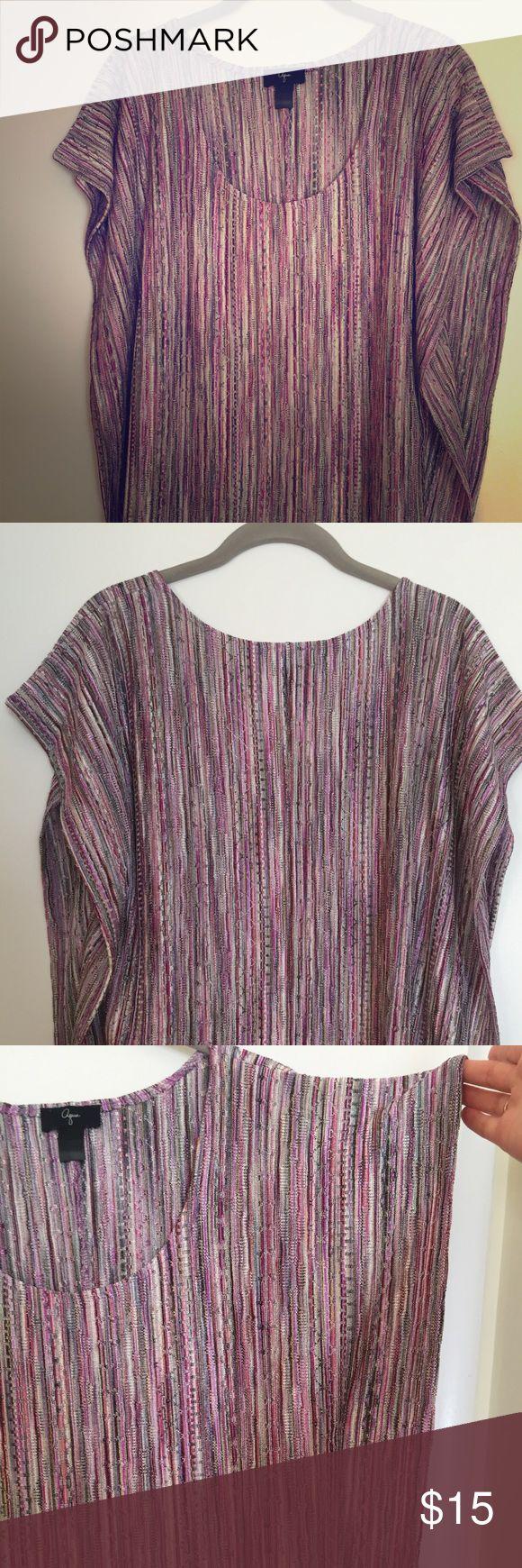 Bloomingdales Aqua drapery short sleeve knit top Size small, knit Aqua Tops