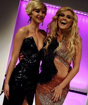 Underbelly star Natasha Cunningham, left, and Pussycat Doll Ashley Roberts in Ruth Tarvydas outfits.