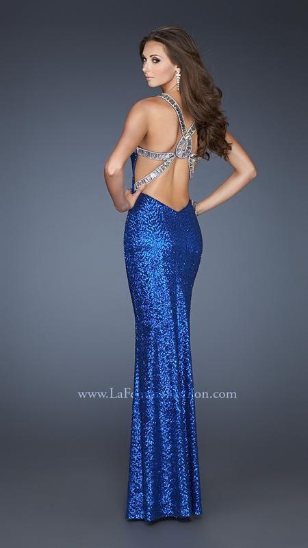 {La Femme 18744 | La Femme Fashion 2013} - La Femme Prom Dresses - Sequined - Embellished Back - Beaded Straps - V- neck - Open Back - Pageant - Homecoming - Cruise