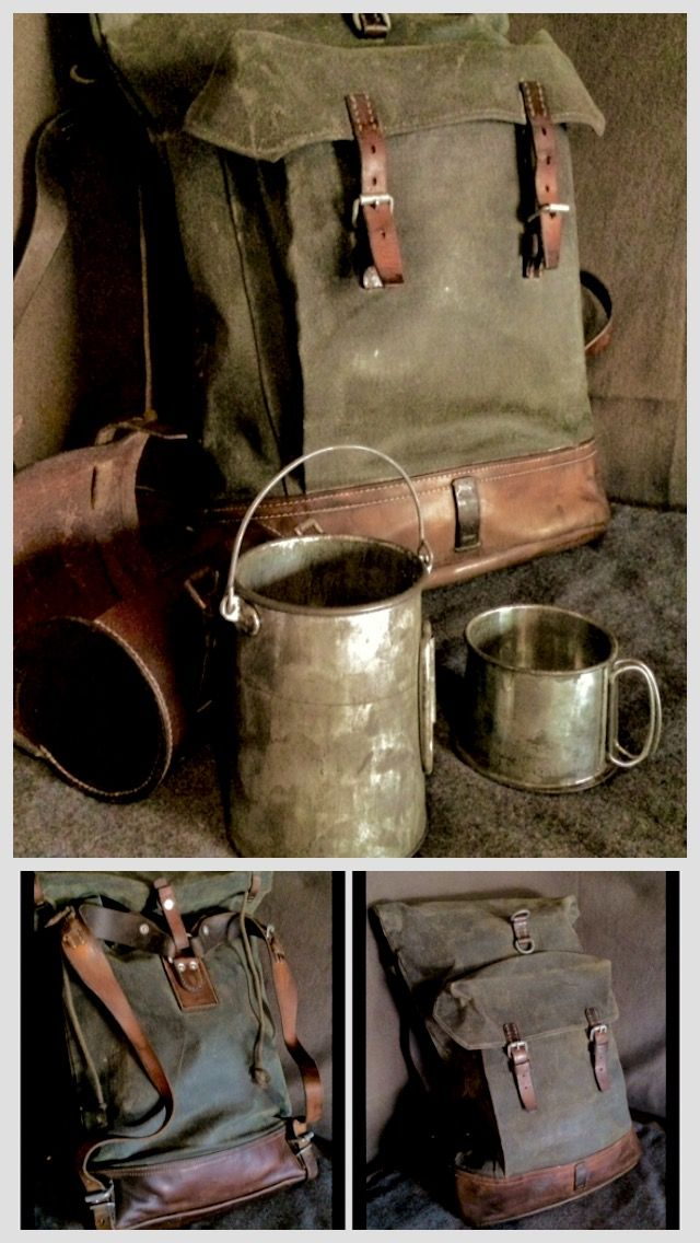 Restored Vintage Swiss Army 1950's canvas & leather mountain backpack & vintage 1900's billy can