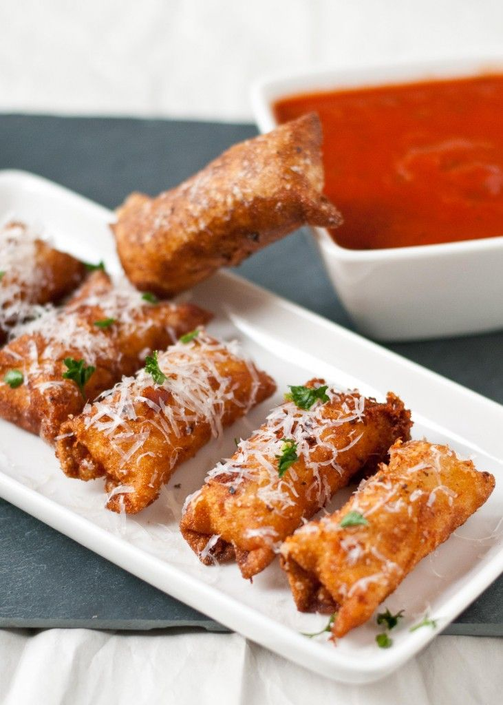 Crispy Wonton Mozzarella Sticks