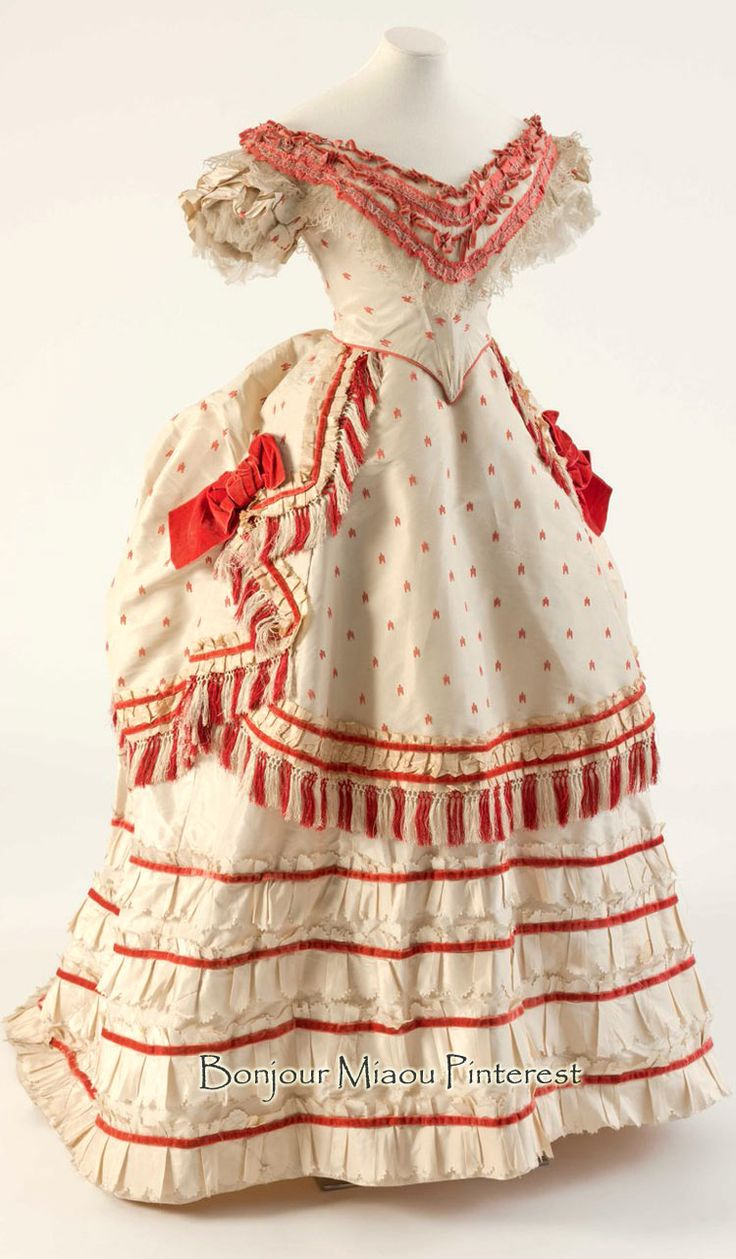 White & coral red silk evening dress, 1870s. Fashion Museum, Bath, Twitter