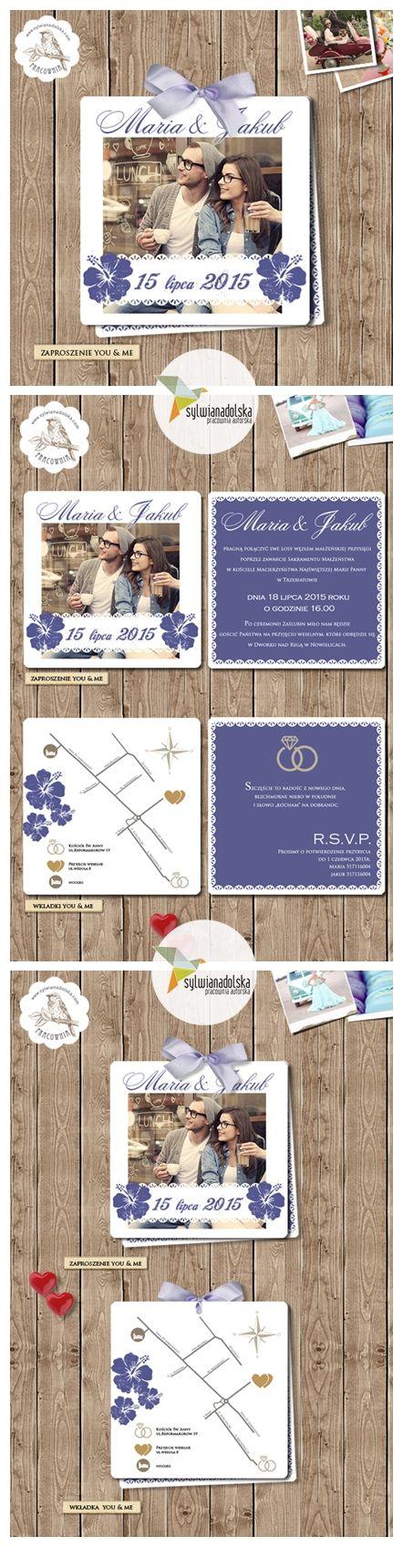 """Zaproszenia Ślubne """"YOU & ME HIBISKUS"""" 7.49 zł/szt. #sylwianadolska #zaproszeniaslubne #zaproszenianaslub #zaproszenia #slub #wesele #wedding   #lawenda #zaproszeniaboho #vintage #winietki #papeteria #dodatkislubne #zaproszenia"""