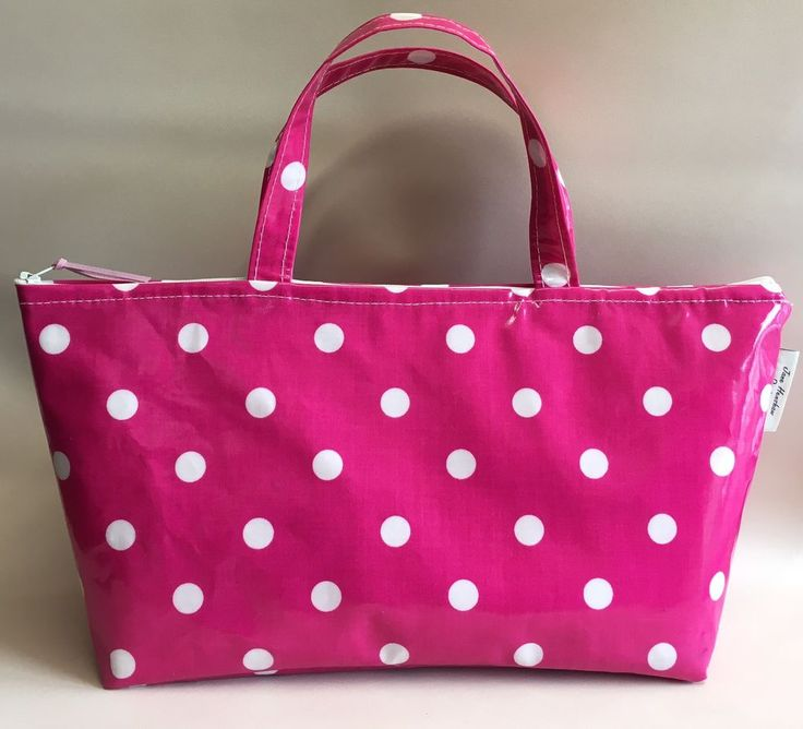 Insulated lunch bag,Picnic Bag,Insulated School Bag,Bright Pink Spotty Oilcloth  | eBay
