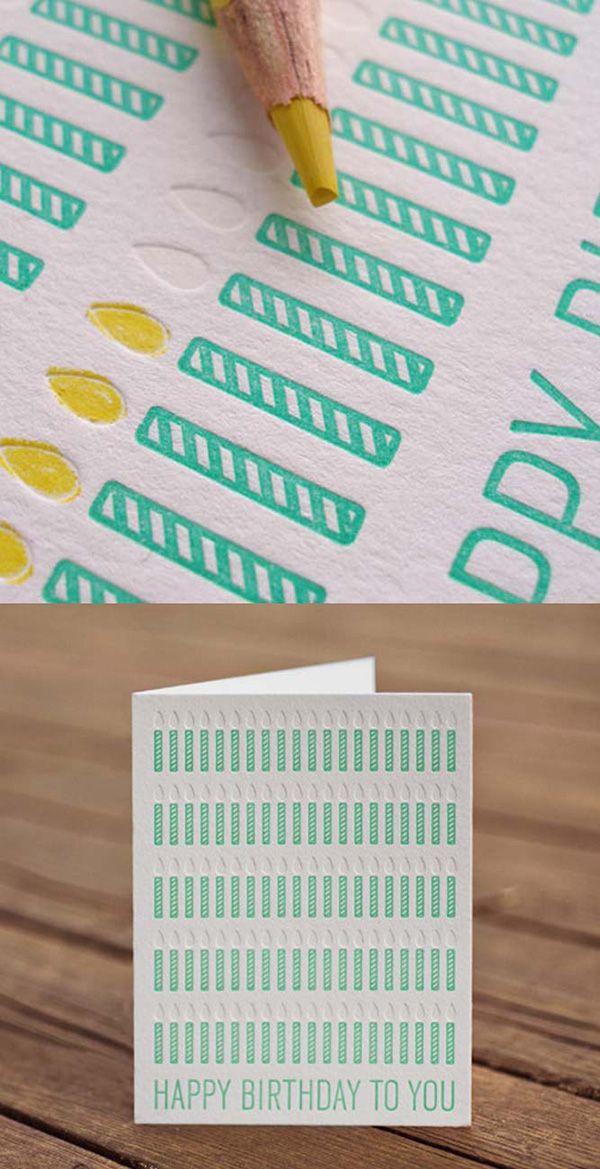 エンボス加工とキャンドルデザインのオシャレな誕生日カード