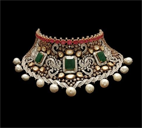 Necklace | Anmol Jewellers.    Collar shape, opulent filigree inspiration.