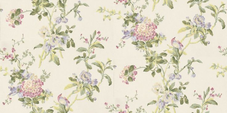 Lavender Dream (322330) - Eijffinger Wallpapers - A beautiful large floral trail in a hand painted effect with pretty birds. Showing in pink and purple on a ivory shimmer background - more colours are available. Please request a sample for true colour match.